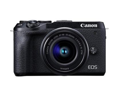 Canon EOS M6 Mark II + 15-45mm schwarz + EVF-DC2 Sucher + Ersatzakku + 64GB SD-Karte