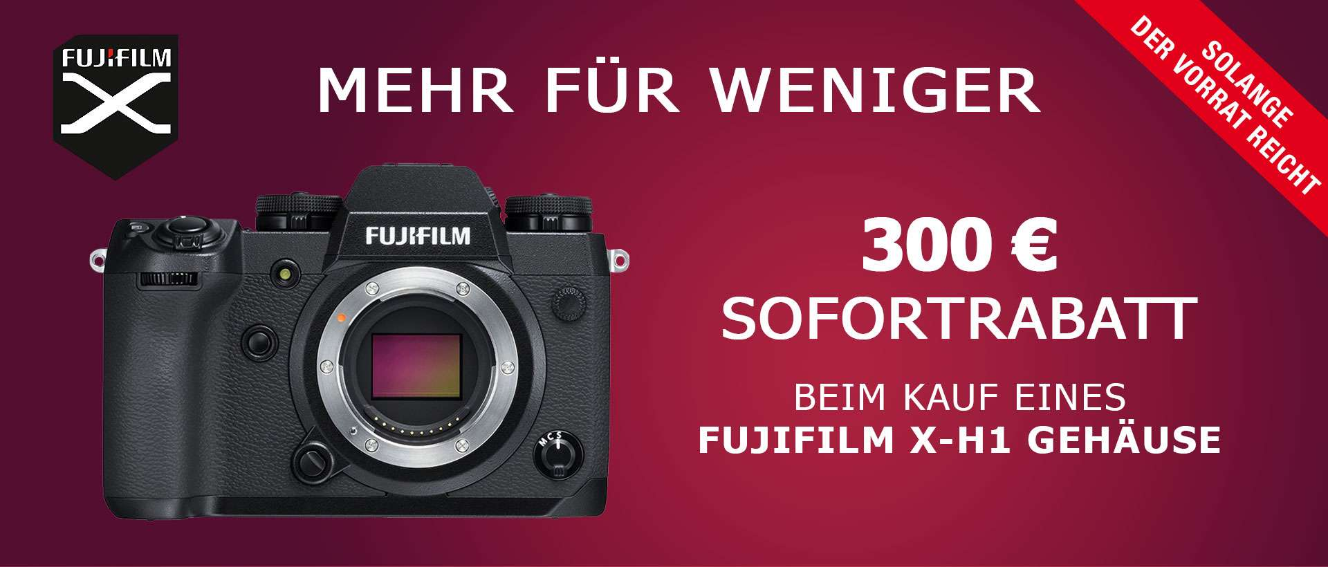 Fujifilm X-H1 Sofortrabatt-Aktion