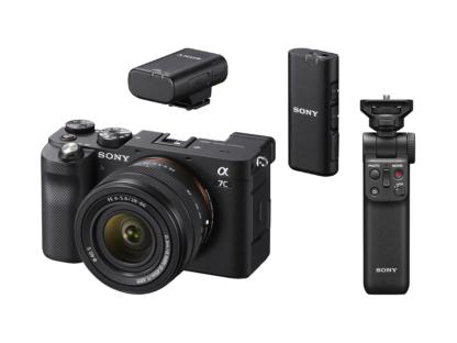 Sony Alpha 7c + 4,0-5,6/28-60mm schwarz + GP-VPT2BT Griff + ECM-W2BT Mikrofon