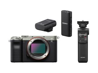 Sony Alpha 7c silber + GP-VPT2BT Griff + ECM-W2BT Mikrofon